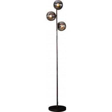 Lampadaire argenté vintage en acier   L. 35 x P. 35 x H. 170 cm collection Turn