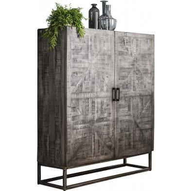 Argentier - meuble bar gris  vintage en bois massif  manguier et  acier  L. 120 x P. 40 x H. 140 cm collection Villo