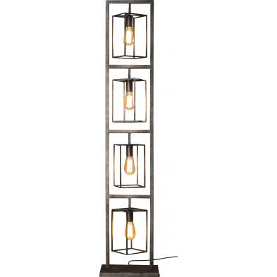 Lampadaire argenté vintage en acier  L. 34 x P. 24 x H. 160 cm collection Macario