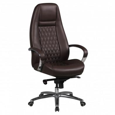 Chaise et fauteuil de bureau marron design en cuir véritable L. 68 x P. 68 x H. 120 - 130 cm collection Nouel
