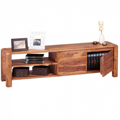 Meuble tv marron contemporain en bois massif  L. 140 x P. 35 x H. 40 cm collection Oving