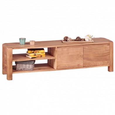 Meuble TV marron contemporain en bois massif L. 140 x P. 35 x H. 40 cm collection Army