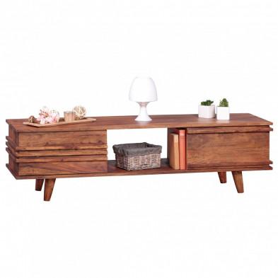 Meuble tv marron contemporain en bois massif L. 145 x P. 42 x H. 41 cmr collection Oving