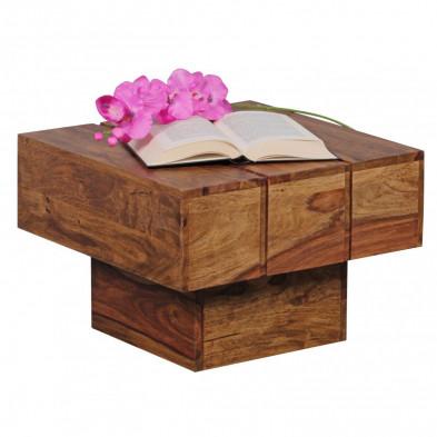 Table basse en bois marron contemporain en bois massif L. 44 x P. 44 x H. 30 cm collection Oving