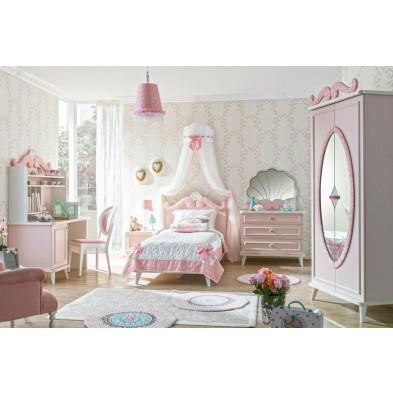 Chambre enfant complète rose romantique en collection Zen