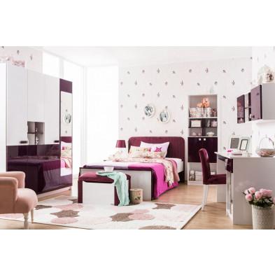 Chambre complète enfant coloris blanc et mauve laqué collection