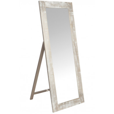 Miroir sur pied marron design en bois massif 65 x 165 cm collection Swallow