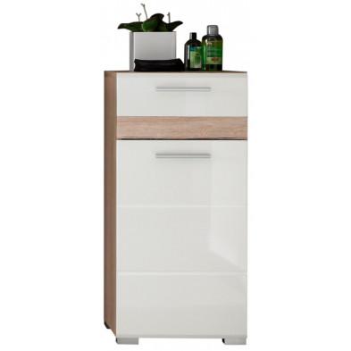 Armoire de rangement pour salle de bain 1 porte et 1 tiroir coloris blanc et chêne San Remo L. 37 x P. 31 x H. 80 cm collection Weitramsdorf