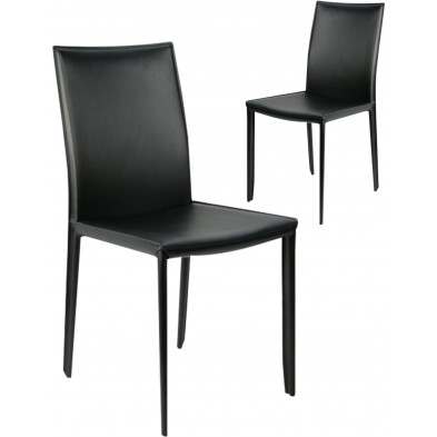 Lot de 2 chaises design en air cuir coloris noir L. 55 x P. 45 x H. 90 cm collection Deviber