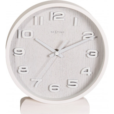 Horloge à poser blanc en bois massif collection Asten