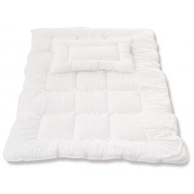 Couette avec oreiller plat pour bébé en aloe vera moderne blanc  100x135 cm Collection Invergelder