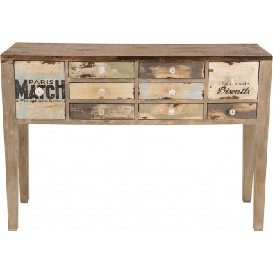 Bureau vintage en bois de manguier massif recyclé multicolore L. 135 x P. 43 x H. 94 cm collection Bitterne