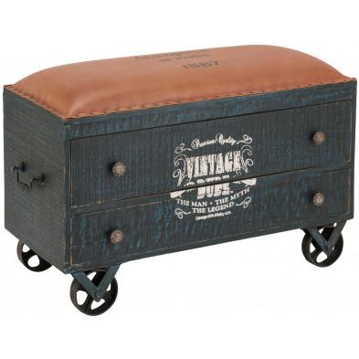 Coffre de rangement vintage en bois de manguier massif coloris noir avec assise en cuir coloris marron L. 90 x P. 42 x H. 58 cm collection Montecorneo