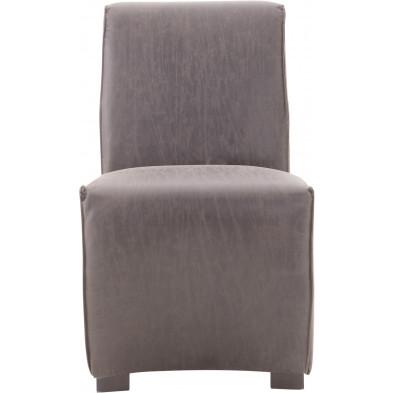 Lot de 2 chaises de salle à manger en cuir Pellini et bois coloris gris L. 56 x P. 73 x H. 89.5 cm collection Nouhaila