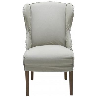 Lot de 2 fauteuils au style contemporain en tissu et bois de chêne coloris blanc L. 65 x P. 74 x H. 105 cm collection Thoughtful
