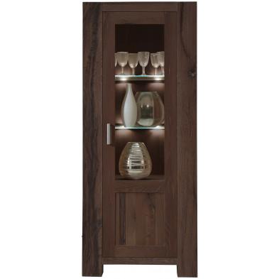 Vitrine rustique 1 porte partiellement vitrée en bois de chêne massif coloris marron antique L. 71 x P. 47 x H. 181 cm collection Membury