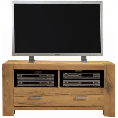 Meuble TV rustique 1 tiroirs et 2 niches ouvertes en bois de chêne massif coloris chêne L. 133 x P. 47 x H. 64 cm collection Membury