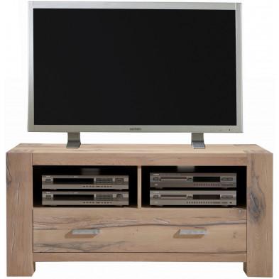 Meuble TV rustique 1 tiroirs et 2 niches ouvertes en bois de chêne massif coloris chêne blanchi L. 133 x P. 47 x H. 64 cm collection Membury