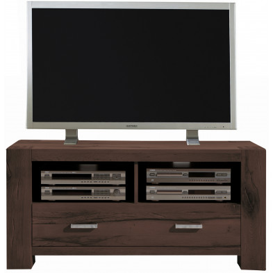Meuble TV rustique 1 tiroirs et 2 niches ouvertes en bois de chêne massif coloris marron L. 133 x P. 47 x H. 64 cm collection Membury