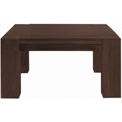 Table basse rustique en bois de chêne massif coloris marron antique L. 90 x P. 90 x H. 47 cm collection Membury