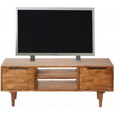 Meuble TV rustique 2 portes et 2 niches ouvertes en bois de manguier massif coloris naturel L. 120 x P. 29 x H. 45 cm collection Parcel