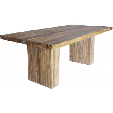Table à manger rustique en bois de teck massif et acier coloris naturel L. 220 x P. 100 x H. 78 cm collection Lakemary