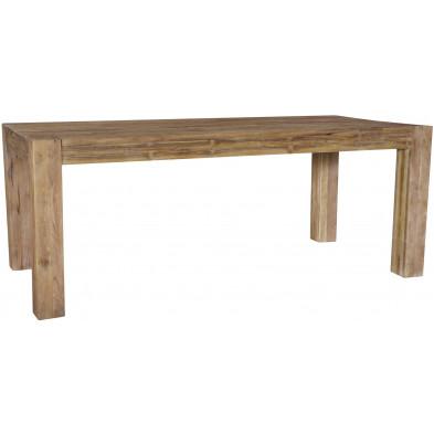 Table à manger rustique en bois de teck massif coloris naturel L. 240 x P. 100 x H. 78 cm collection Daniela