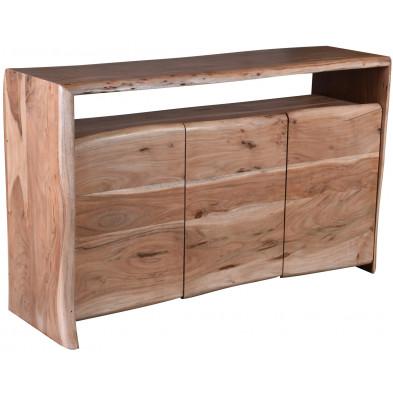 Buffet rustique 3 portes et 1 niche ouverte en bois d'acacia massif coloris naturel L. 145 x P. 45 x H. 88 cm collection Yasir