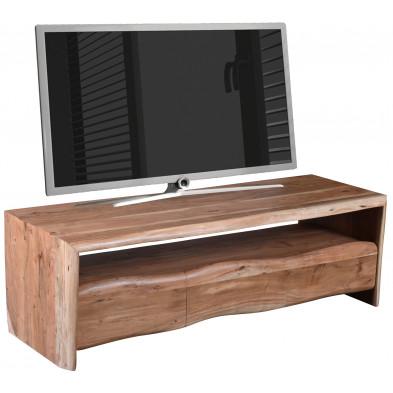 Meuble TV rustique 3 tiroirs et 1 niche ouverte en bois d'acacia massif coloris naturel L. 146 x P. 50 x H. 46 cm collection Savor