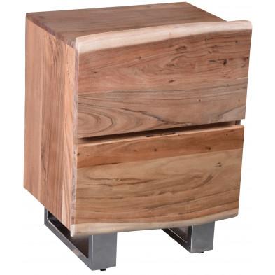 Commode rustique 2 tiroirs en bois d'acacia massif coloris naturel  L. 50 x P. 37 x H. 63 cm collection Waarland