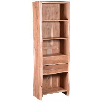 Bibliothèque rustique 2 tiroirs et 4 niches ouvertes en bois d'acacia massif coloris naturel L. 190 x P. 66 x H. 40 cm collection Ilke