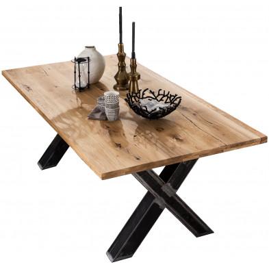Table à manger rustique en bois massif de chêne avec piétement en acier coloris noir  L. 240 x P. 100 x H. 75 cm collection Olba