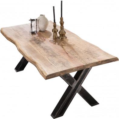 Table à manger rustique en bois  de manguier massif et acier coloris naturel et noir L. 160 x P. 90 x H. 76 cm collection Banfield