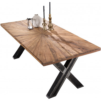 Table à manger rustique en bois de teck massif et acier coloris naturel et noir L. 220 x P. 100 x H. 76 cm collection Merizzo