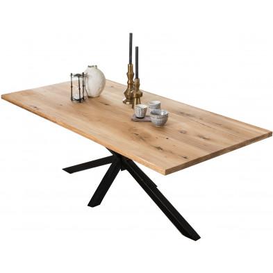 Table à manger rustique en bois massif de chêne avec piétement acier coloris noir L. 180 x P. 100 x H. 76 cm collection Jacklyn