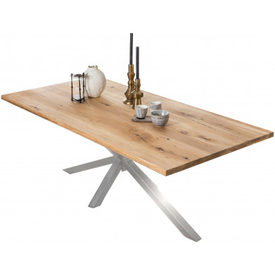 Table à manger rustique en bois massif de chêne avec piétement acier coloris argenté L. 180 x P. 100 x H. 76 cm collection Jacklyn