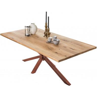Table à manger rustique en bois massif de chêne avec piétement acier coloris marron L. 220 x P. 100 x H. 76 cm collection Jacklyn