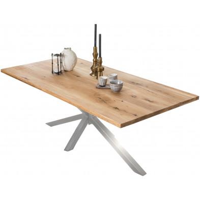 Table à manger rustique en bois massif de chêne avec piétement acier coloris argenté L. 240 x P. 100 x H. 76 cm collection Jacklyn