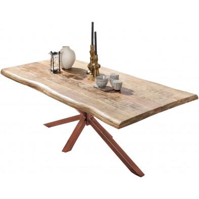 Table à manger rustique en bois de manguier massif avec piétement en acier coloris marron L. 160 x P. 90 x H. 77 cm collection Colico