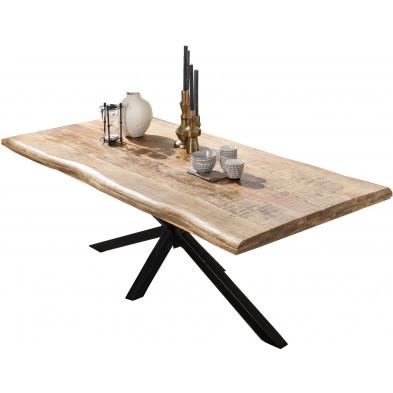 Table à manger rustique en bois de manguier massif avec piétement en acier coloris noir L. 200 x P. 100 x H. 77 cm collection Lyanne