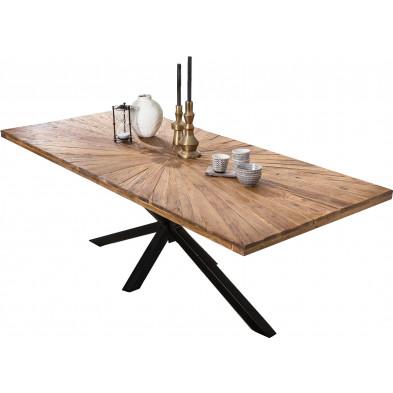 Table à manger rustique en bois de teck massif avec piétement en acier coloris noir L. 220 x P. 100 x H. 77 cm collection Dine