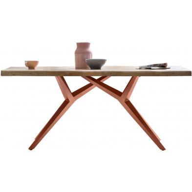 Table à manger rustique avec plateau en bois d'acacia massif et piétement en acier coloris argent antique L. 180 x P. 100 x H. 78 cm collection Oberg