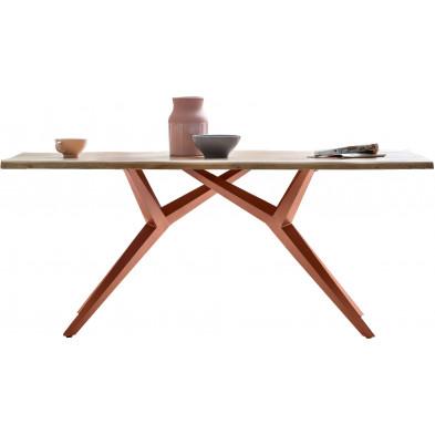 Table à manger rustique avec plateau en bois d'acacia massif et piétement en acier coloris argent antique L. 200 x P. 100 x H. 76 cm collection Oberg