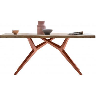 Table à manger rustique avec plateau en bois d'acacia massif et piétement en acier coloris marron antique L. 200 x P. 100 x H. 78 cm collection Oberg