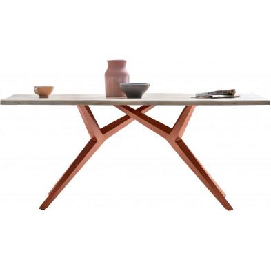 Table à manger rustique avec plateau en bois massif de chêne blanchi et piétement en acier coloris marron antique L. 180 x P. 100 x H. 75 cm collection Atika