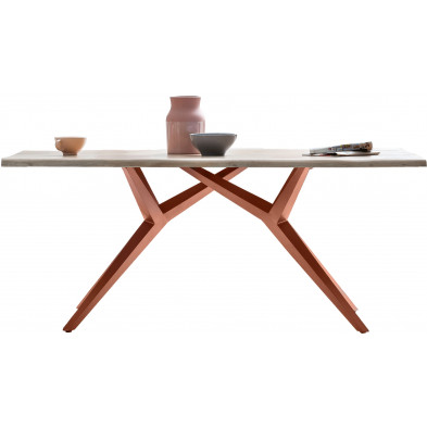 Table à manger rustique avec plateau en bois massif de chêne blanchi et piétement en acier coloris marron antique L. 220 x P. 100 x H. 75 cm collection Atika