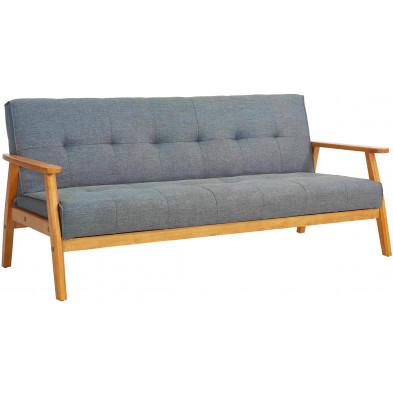 Canapé  scandinave  3 places en tissu et bois massif eucalyptus coloris gris foncé et naturel L. 190 x P. 85 x H. 81 cm collection Girls