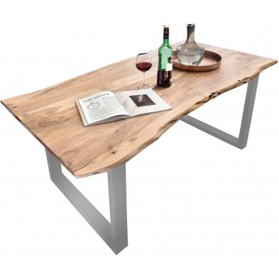Table à manger contemporaine en bois massif d'acacia et piètement en acier coloris naturel et argenté L. 140 x P. 80 x H. 78 cm collection Tuan
