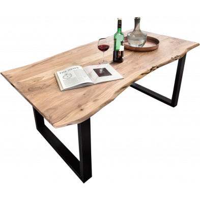 Table à manger contemporaine en bois massif d'acacia et piètement en acier coloris naturel et noir L. 160 x P. 85 x H. 78 cm collection Nettie