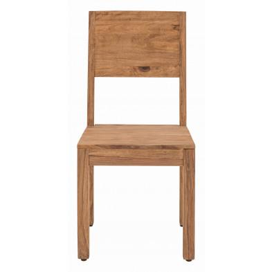 Chaise de salle à manger rustique en bois de Sheesham massif coloris naturel  L. 45 x P. 47 x H. 99 cm collection Burghout